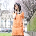 Twist: Orange lady dress & Watercolor jacket