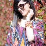 Coral soutache bangle & Atzec printed blouse