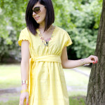 Bright: Yellow dress & Butterfly necklace